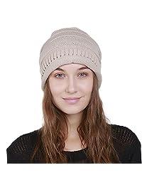 PLENTOP Men's Women's Knit Baggy Beanie Solid Winter Hat Ski Slouchy Chic Cap