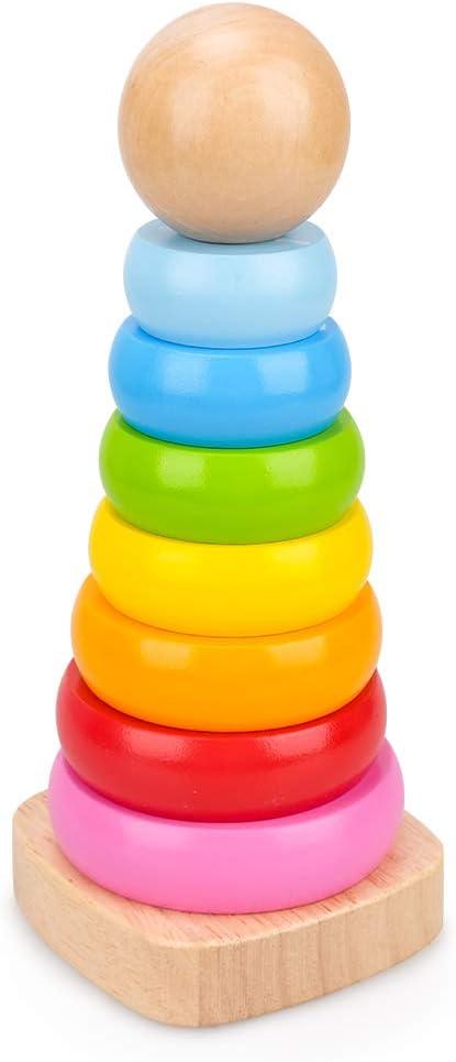 LITTLEFUN Juguete Montessori Juguetes Educativos para Niños Arco Iris Stacker Juguete Clásico