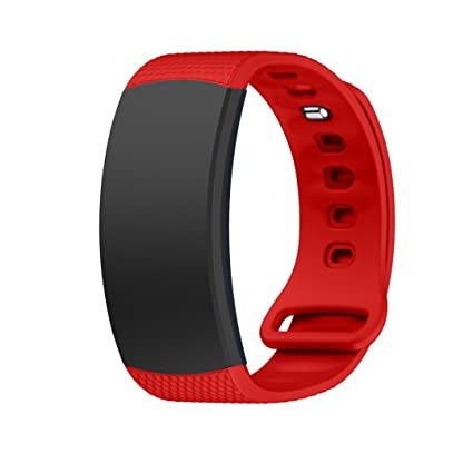 Malloom Suave Silicona reemplazo Banda Sport Correa para Samsung Gear Fit2 Pro Fitness (Rojo)