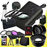 Canon EOS 70D DSLR Camera with 18-55mm STM f/3.5-5.6 Lens LP-E6 Lithium Ion Replacement Battery + 8GB SDHC Class 10 Memory Card + 58mm 3 Piece Filter Kit + Full Size Tripod + 58mm Macro Close Up Kit + 58mm 2x Telephoto Lens + 58mm Wide Angle Lens + Carryi