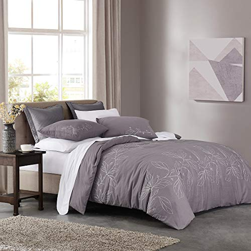 HeyDreamy Embroidery 3 Piece Duvet Cover Set Ultra Soft Cotton Slub Yarn Pre-Washed Comforter Cover with Leaf Pattern Hidden Zipper Closure (Purple,King) (King Purple Cover Duvet)