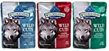 Blue Buffalo Wilderness Grain Free Trail Toppers Wild Cuts Natural Food For Dogs 3 Flavor Variety 6 Pouch Bundle: (2) Blue Wild Cuts Trail Toppers Chunky Duck Bites In Hearty Gravy, (2) Blue Wild Cuts Trail Toppers Chunky Salmon Bites In Hearty Gravy, and
