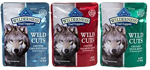 Blue Buffalo Wilderness Grain Free Trail Toppers Wild Cuts Natural Food For Dogs 3 Flavor Variety 6 Pouch Bundle: (2) Blue Wild Cuts Trail Toppers Chunky Duck Bites In Hearty Gravy, (2) Blue Wild Cuts Trail Toppers Chunky Salmon Bites In Hearty Gravy, and (2) Blue Wild Cuts Trail Toppers Chunky Chicken Bites In Hearty Gravy, 3 Oz. Ea. (6 Pouches Total)