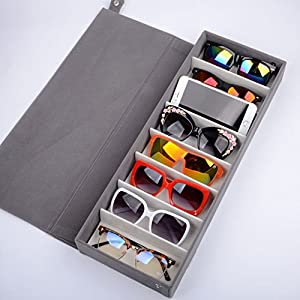 SweetyLady 8 Grids Deer Leather Eyeglass Sunglass Boxes Eyewear Storage Organizer Jewelry Display Case