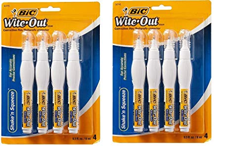 (BWOS Wite-Out Shake 'N Squeeze Correction Pen, 8 Ml, White, 4/pack (2 Pack - White))