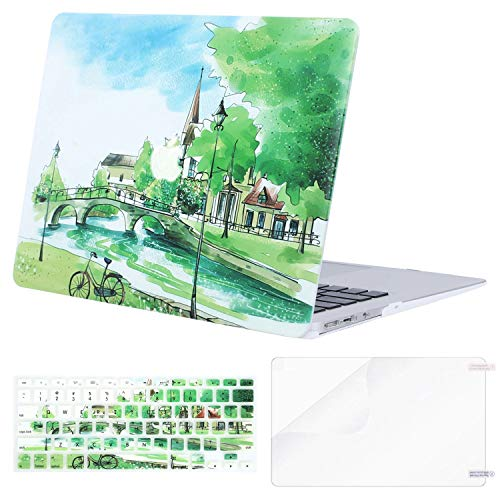 MOSISO MacBook Air 13 Case (A1369 & A1466, Older Version 2010-2017 Release), Plastic Pattern Hard Case & Keyboard Cover & Screen Protector Only Compatible MacBook Air 13 Inch, Bridge River Trees