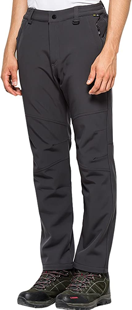 Men/'s Outdoor Softshell Hiking Pants Winter Lightweight Waterproof and Windproof Fleece Lined Trousers Insulated Ski Pants