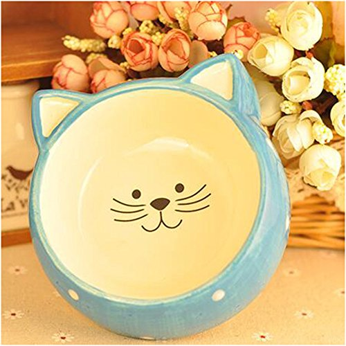 WuKong Pet Gear Feeding & Watering Supplies Ceramics Bowls for Cats,Puppy (Blue)