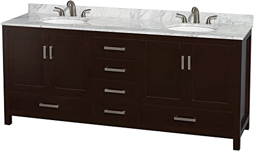 Wyndham Collection Sheffield 80 inch Double Bathroom Vanity in Espresso, White Carrara Marble Countertop, Undermount Oval Sinks, and No Mirror