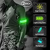 Ezer LED Armbands for Running, 2 Pack High Visibility Nylon Elastic Reflective Glowing Sports Wristbands for Runners, Joggers, Pet Owners, Cyclists (Green)
