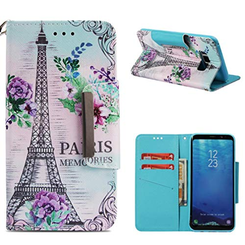(Galaxy S8 Plus Case,Shock Absorbent PU Leather Kickstand 3D Printing Wallet Case Inner Soft Silicone Bumper Full Protective Flip Folio Wrist Strap for Samsung Galaxy S8 Plus -Eiffel Tower)