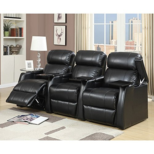 Elements International Cecille 3 Piece Home Theater Power Recliner ()