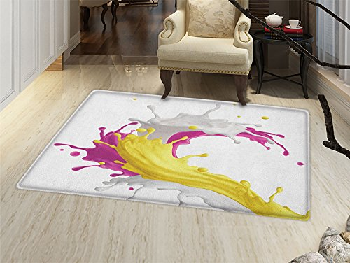 smallbeefly Colorful Bath Mats for floors Mixed Fruit Drink Splash Photo Strawberry Banana Milk Sweet Fountain Door Mat indoors Bathroom Mats Non Slip Pink Yellow and White by smallbeefly