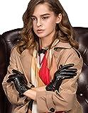 (US) Women's Touchscreen Lambskin Warm Lined Winter Leather Gloves Buttoned Cuff