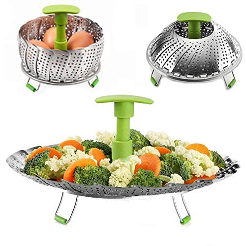 "Veg Steamer Basket Stainless Steel Steamer Basket Steamer Insert for Steamer Food Vegetable Fish Seafood Cooking with Extendable Handle 5.5"" to 9"""