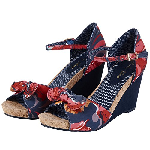Floral Ladies 42 eu Wedge Shoes uk Molly Shoo Retro 9 Friendly Vegan Ruby Coral 5CZqgwnI