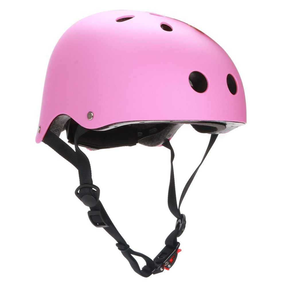Dtown CPSC Skateboarding Helmet with Adjuster for Kids,Child,Youth,Adults,Matte Pink,S