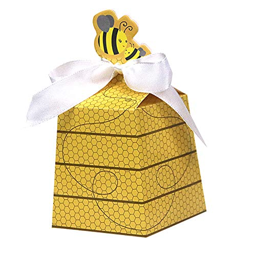 24 Ct Cute Girl Boy Baby Shower Favor Yellow Honey Bee Paper Party Box Beehive Bowknot Candy Gift Wrapping Gender Reveal Birthday Wedding Decoration (Baby Shower Party Favors Yellow)