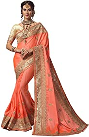 Nivah Fashion Women's Satin Embroidery Saree with Blouse Piece (K