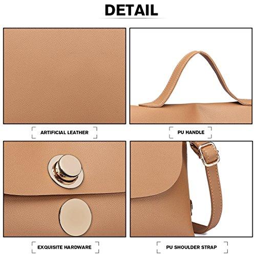 Large Ladies Women Miss Pu Handbags Briefcase Lulu for Top Black A4 Leather Handle Khaki Satchel Bags Casual xwxgBqT8