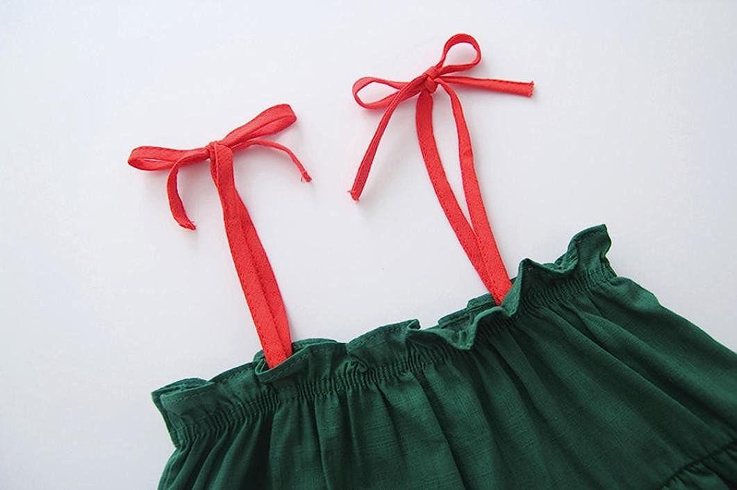 Dinlong Toddler Baby Girls Kids Summer Solid Sleeveless Party Princess Mini Dress