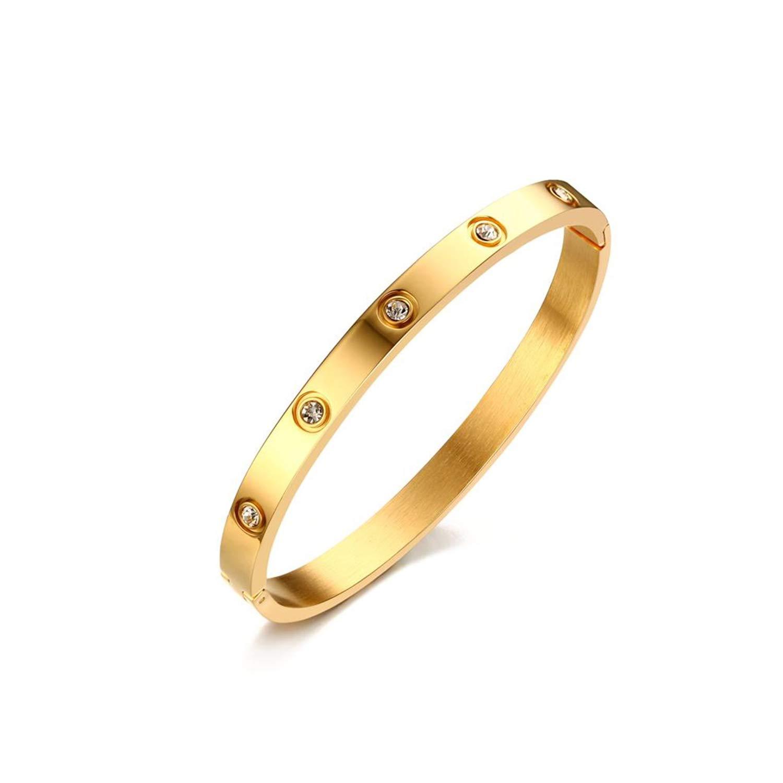 PEHTENBRCELET Fashion Women Crystal Wedding Bracelet 6Mm Wide Rose Gold-Color Bracelets /& Bangles Bijoux