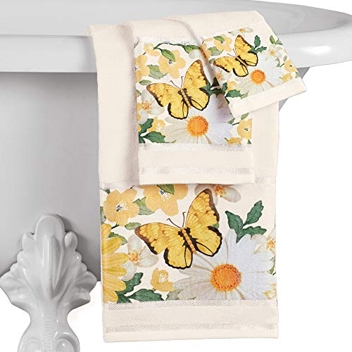 Collections Etc Daisy and Butterfly Cotton Bathroom Towels - Set of 3, Seasonal Bathroom Accent