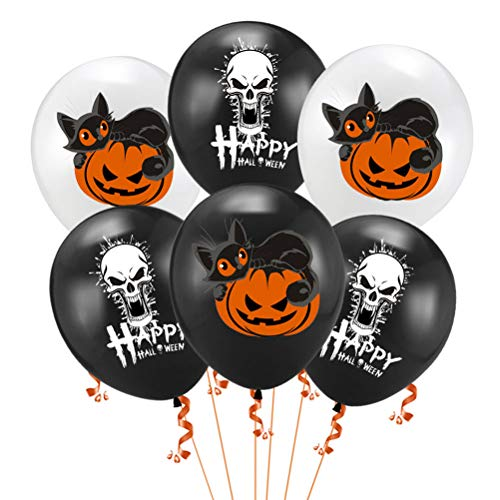 Amosfun 15pcs Halloween Balloons Latex Balloon Pumpkin Cat Balloons Skull Balloon Atmosphere Creative Cartoon Pumpkin Cat Prints Decoration Balloons -
