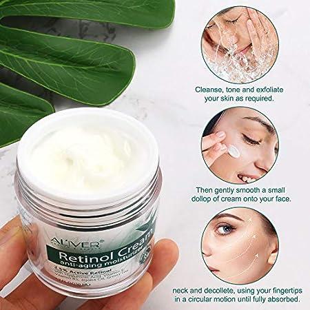 Crema hidratante milagrosa de retinol para la cara: con retinol, ¨¢cido hialur¨®nico, vitamina E y t¨¦ verde. La mejor crema hidratante d¨ªa y noche.