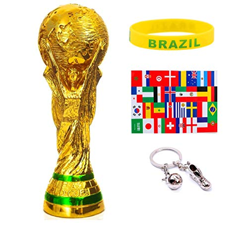 - World Cup Trophy Replica(10.5 Inch), Trophy Keychain, Face Stickers Label, Silicone Bracelets ()