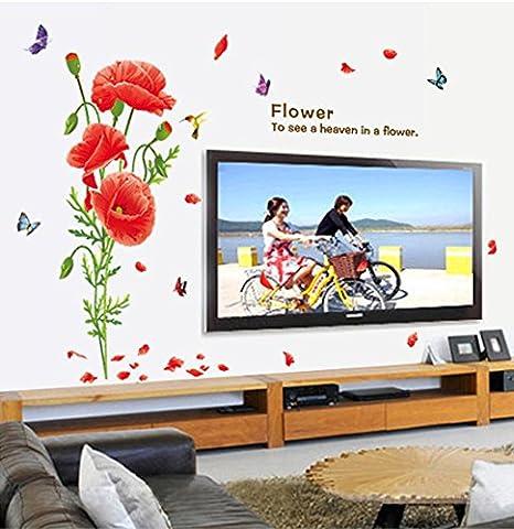 color rouge fleurs papillons papier peint sticker home house sticker mural amovible cuisine salon salle