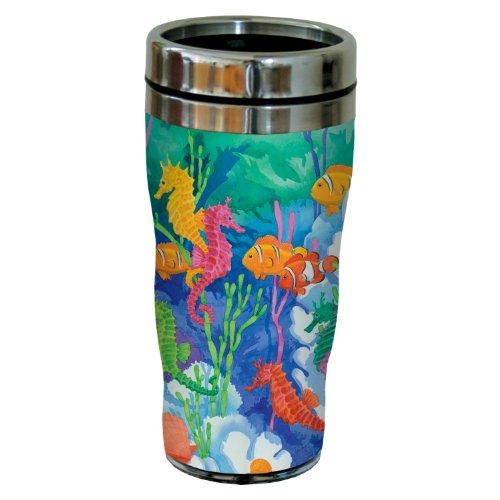Tree-Free Greetings sg23391 Colorful Seahorse Lagoon by Paul Brent Sip 'N Go Stainless Steel Tumbler, -