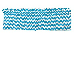 Zen Creative Designs® Premium Cotton Chevron Curtain Valance / Home Decor / Window Treatment / Kitchen / Baby Nursery / Chevron / Zig-zag (18 Inch x 58 Inch, Turquoise)