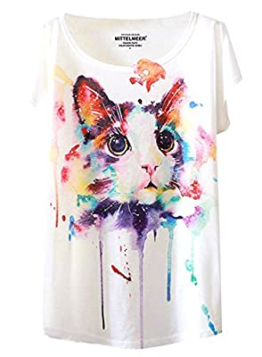 Futurino Women's Cute Cat Graphic Abstract Paint Splatter Casual T-shirt Top