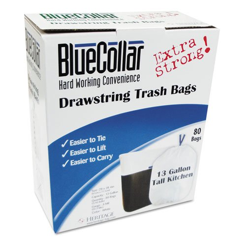 BLUECOLLAR n4828ewrc1 Drawstring Trashバッグ、13 Gal、0.8 Mil、24 x 28、ホワイト、80 /ボックス B00YR911IU