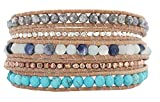Chan Luu Blue Mix Beige Leather Wrap Bracelet BS-5286