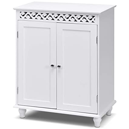 Amazon Com Tangkula Floor Cabinet Bathroom Storage Cabinet Wooden