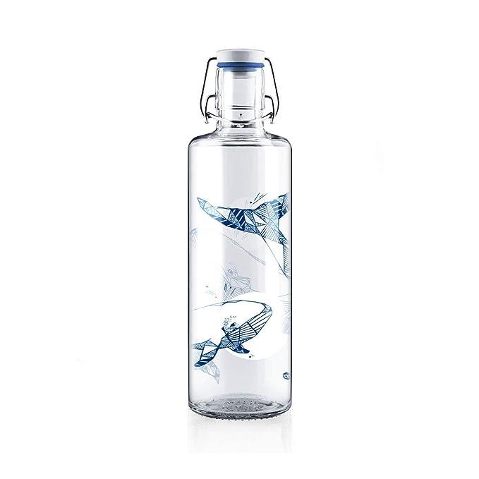 Botella de cristal Soulbottle, varios diseños, fabricada en Alemania, producto vegano, sin plástico, 1,0 l, Flower Of Life • Blume des Lebens, ...