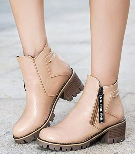 Up Classic Sole Lug Women's Side Zip Chunky Boots Booties Heels Motor Short Apricot Ankle IDIFU Mid FxwPCnA5wq