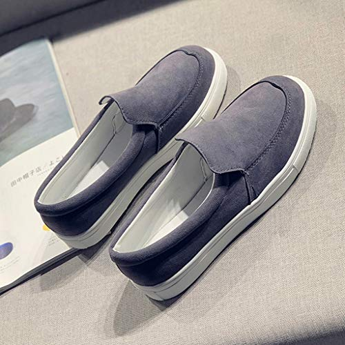2019 New Women's Shoe Flat Low Heel Soft Solid Flock Single Shoes Shallow Casual Outdoors Sneakers Single Shoes (Dark Gray, 5.5 M US) by Aurorax Shoes (Image #6)