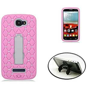 [STOP&ACCESSORIZE] PINK GRAY DUAL LAYER COVER LACE RHINESTONE KICKSTAND CASE for ALCATEL ONE TOUCH FIERCE 2 + FREE U KICKSTAND