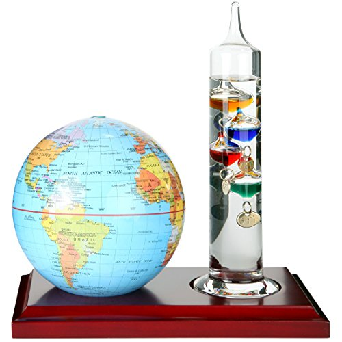 Lily's Home 7 inch Glass Galileo Thermometer with a 4 inch World Globe