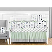 Sweet Jojo Designs 9-Piece Grey, Navy Blue and Mint Woodland Arrow Crib Bed Bedding Set with Bumper for a Newborn Baby Girl or Boy