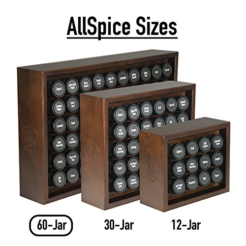 AllSpice Wooden Spice Rack, Includes 60 4oz Jars- Walnut by AllSpice (Image #4)