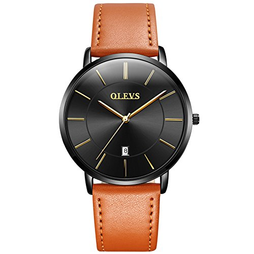OLEVS Fashion Men's Ultrathin Retro Yellow/Brown/Black PU Leather Band Quartz Wrist Watches, Waterproof & Calendar (Brown Dial Watch)