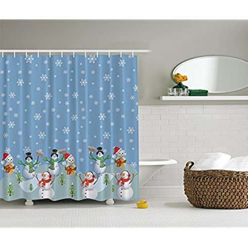 Snowman Winter Christmas Digital Print Polyester Fabric Shower Curtain    Blue Red Yellow White Green  Machine Washable 69Wx70L