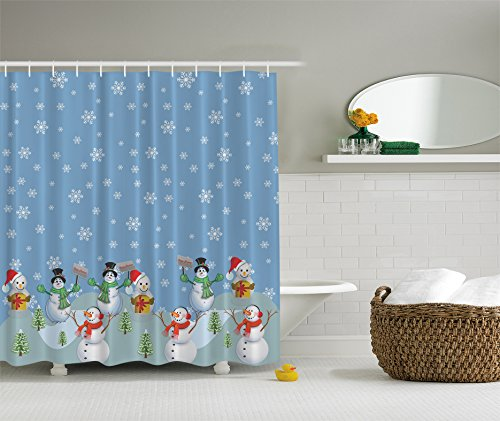 Snowman Winter Christmas Digital Print Polyester Fabric Shower Curtain - Machine Washable 69Wx70L