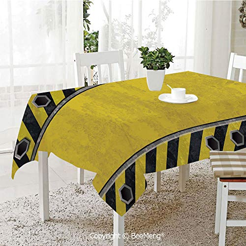 (BeeMeng Spring and Easter Dinner Tablecloth,Kitchen Table Decoration,Construction,Under Construction Design Rusty Grunge Working Site Sign Rough Display,Yellow Green Black,59 x 83 inches)