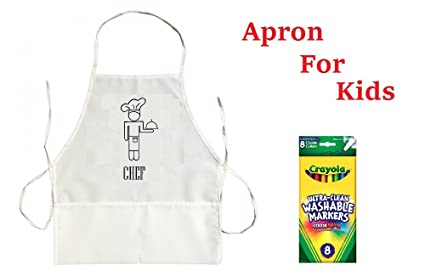 Amazon.com: Kids Apron for Girls Toddler and Children White ...