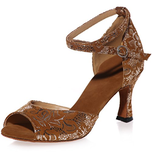 Sarahbridal Wedding Shoes Bridal Peep Toe Lace Floral Evening Prom High Heel Sandals For Women Size SZXF8349 Brown 1P6iN